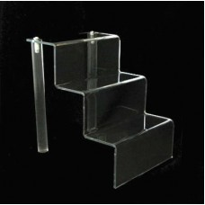 "Acrylic 2"" Shelf 3 Stairway Display Stand 4"" Wide"