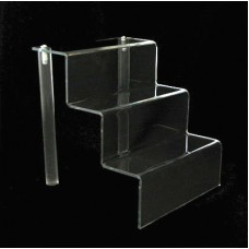 "Acrylic 2"" Shelf 3 Stairway Display Stand 6"" Wide"
