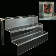 "Acrylic 2"" Shelf 3 Stairway Display Stand 12"" Wide"