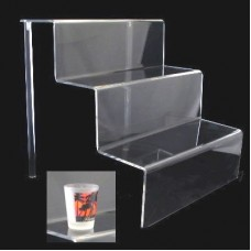 "Acrylic 3"" Shelf 3 Stairway Display Stand 12"" Wide"
