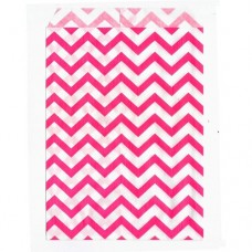 "Paper Merchandise Bags Chevron Pink - 5 x 7"" / 100 Bags"