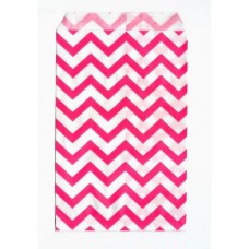 "Paper Merchandise Bags Chevron Pink - 4 x 6"" / 100 Bags"