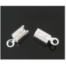 Foldover End Cap - Bright Silver Plated 5 grams