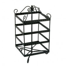 Metal Rotating 96 Pair Earring Display Square / Black