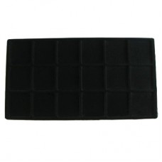 Black Flocked Sectional Jewelry Tray Insert - 18 Section